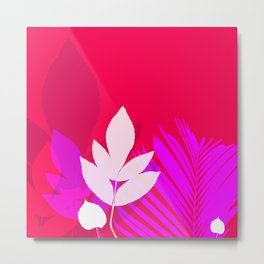 Leaves silhouette in pink and red  Jungle Brazil Metal Print