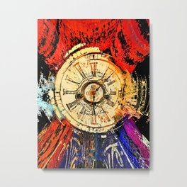 Traditional antique clock face and Roman numerals shown in conceptual abstract futuristic background Metal Print