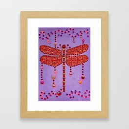 Dragonfly in Red Framed Art Print