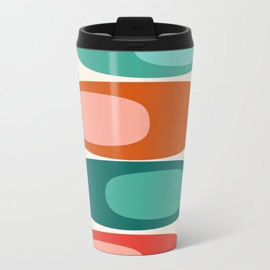 Ya Dig - abstract retro minimal dots 70s 1970s style pattern art 70's 1970's Metal Travel Mug
