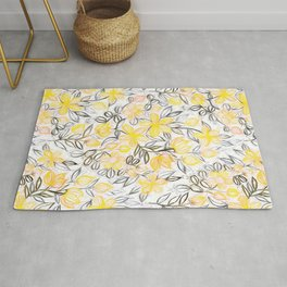 Sunny Yellow Crayon Striped Summer Floral Rug