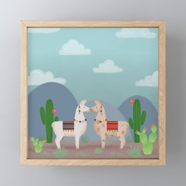 Cute Llamas Illustration Framed Mini Art Print