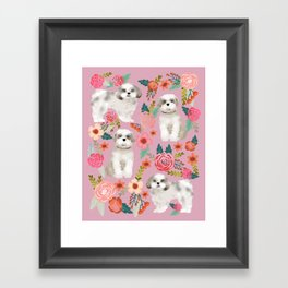 Shih Tzu florals love gift for dog person pet friendly portrait dog breeds unique small puppy Framed Art Print