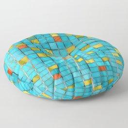 Block Aqua Blue and Yellow Art - Block Party 2 - Sharon Cummings Floor Pillow