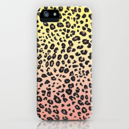 CORAL & YELLOW LEOPARD iPhone Case