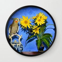 Cockatiel Still Life Wall Clock