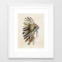 headdress Framed Art Prints featuring headdress by bri.buckley