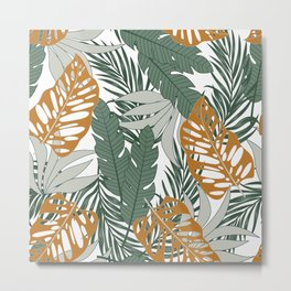 Trendy seamless tropical pattern with bright plants and leaves on a white background. Vintage pattern. Exotic tropics. Summer. Beautiful exotic plants. Metal Print