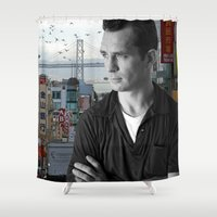 kerouac Shower Curtains featuring Jack Kerouac San Francisco  by All Surfaces Design