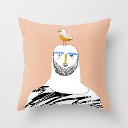 Man beard and bird Throw Pillow