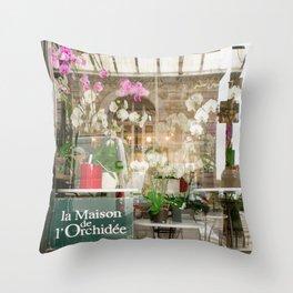 Paris Flower Shop Window Throw Pillow
