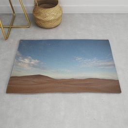 Desert Oasis - Sunrise with Moon over the Sahara, Morocco Rug