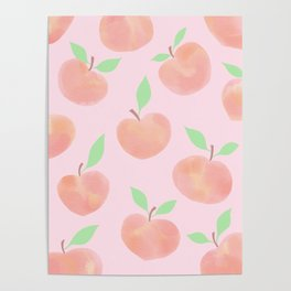 Pastel Pink Summer Peaches Poster
