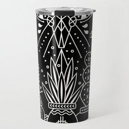 Santa Fe Garden – White Ink on Black Travel Mug