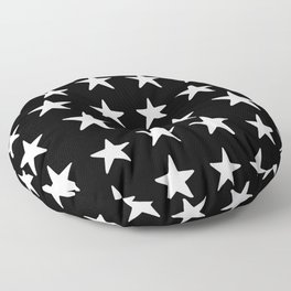 Star Pattern White On Black Floor Pillow