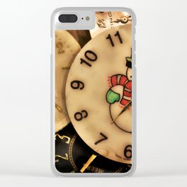 Vintage TimePieces Displaying a SnowMan Face Clear iPhone Case