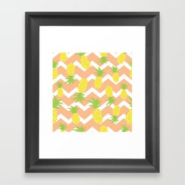 Orange Pinapple Pattern Framed Art Print