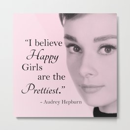 Happy Girls - Pink - With Audrey Metal Print
