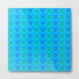Pattern of intersecting azure hearts and sea water stripes. Metal Print