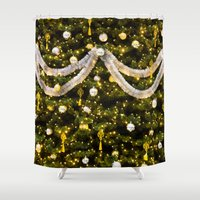christmas tree Shower Curtains featuring Christmas Tree by Pati Designs