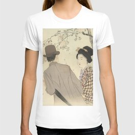 Man with bowler hat and umbrella and lady in kimono - Takeuchi Keishu (1900 - 1925) T-shirt