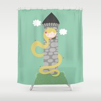 rapunzel Shower Curtains featuring Rapunzel by Maria Jose Da Luz