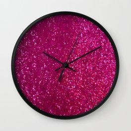 Glamours Fuchsia Glitter Wall Clock