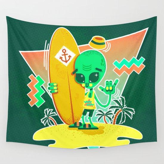 Alien Surfer Nineties Pattern Wall Tapestry