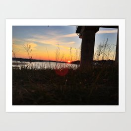 Spring Sunset Behind the Casco Bay Bridge Art Print