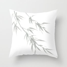 Japanese bamboo painting art - cool summers Throw Pillow