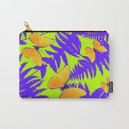 Golden Butterflies Purple Fern Fronds Chartreuse Color Art Carry-All Pouch