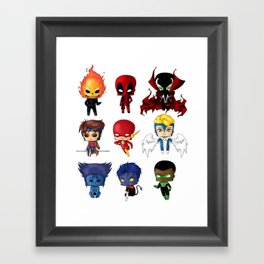 Chibi Heroes Set 2 Framed Art Print