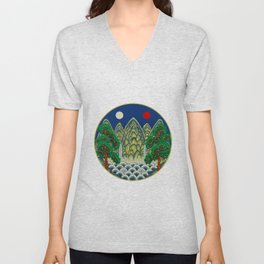 Sun, Moon and 5 peaks: King's painting Type A (Minhwa-Korean traditional/folk art) Unisex V-Neck