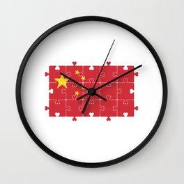 Flag of China. Grunge Chinese Flag  Wall Clock