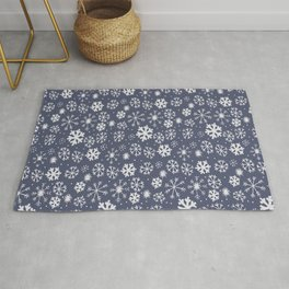 Snowflake Snowstorm In Midnight Blue Rug