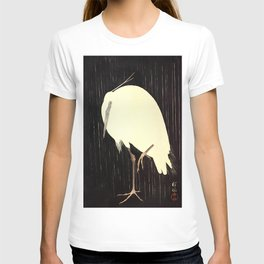 Koson Ohara - White Heron standing in the Rain - Japanese Vintage Ukiyo-e Woodblock Painting T-shirt