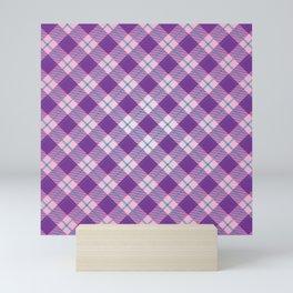 purple plaid pattern Mini Art Print