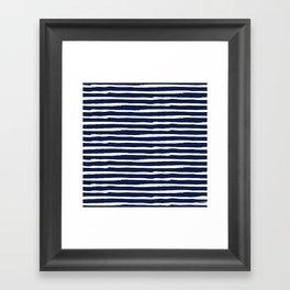 Navy Blue Stripes on White II Framed Art Print