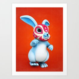 Lucha Rabbit-Blue Brother Art Print