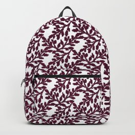Abstract burgundy white vector floral leaves pattern Backpack
