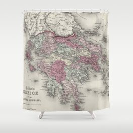 Vintage Map of Greece (1855)  Shower Curtain