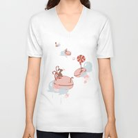 "macaroon V-neck T-shirts featuring Macaroon Heaven by Barbora ""Mad Alice"" Urbankova"