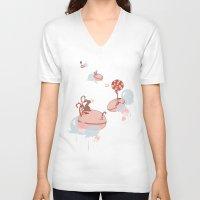 "macaroon V-neck T-shirts featuring Macaroon Heaven by Barbora ""Mad Alice"" Urbankova"