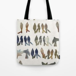 Navy and Ocher Birds Abstract Tote Bag