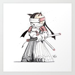 Samurai Japanese Bobtail Cat Art Print