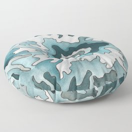 Mount Rainier, WA Ink & Watercolor Contour Map Floor Pillow