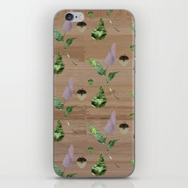 Floral Pattern on Wooden Table iPhone Skin