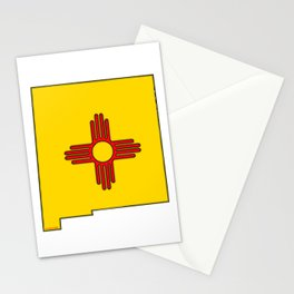 New Mexico Map with State Flag Stationery Cards