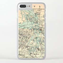 Vintage Map of The Puget Sound (1883) Clear iPhone Case