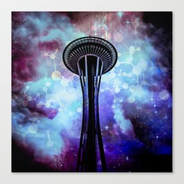 Space Needle - Seattle Stars Clouds Fog Canvas Print
